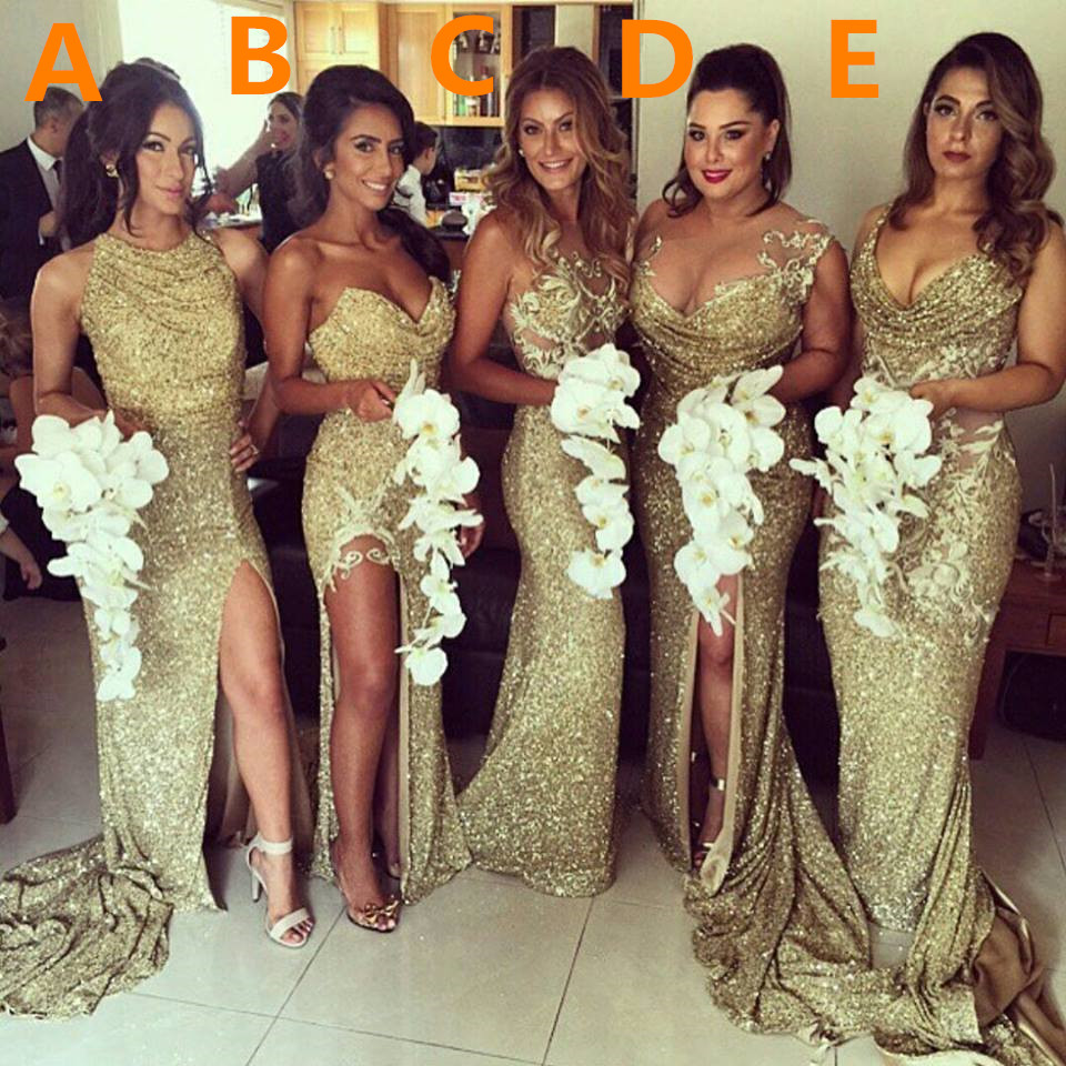Sexy gold sequins 2017 bridesmaid dresses side slit sparkly wedding sexy gold sequins 2017 bridesmaid dresses side slit sparkly wedding party dress ombrellifo Images