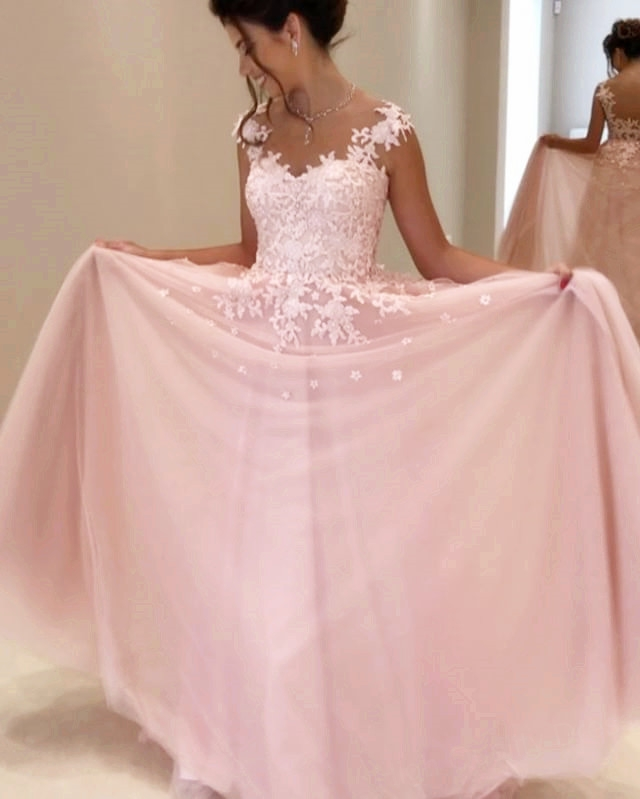Pink Appliques Prom Dress,Long Prom Dresses,Charming Prom Dresses ...