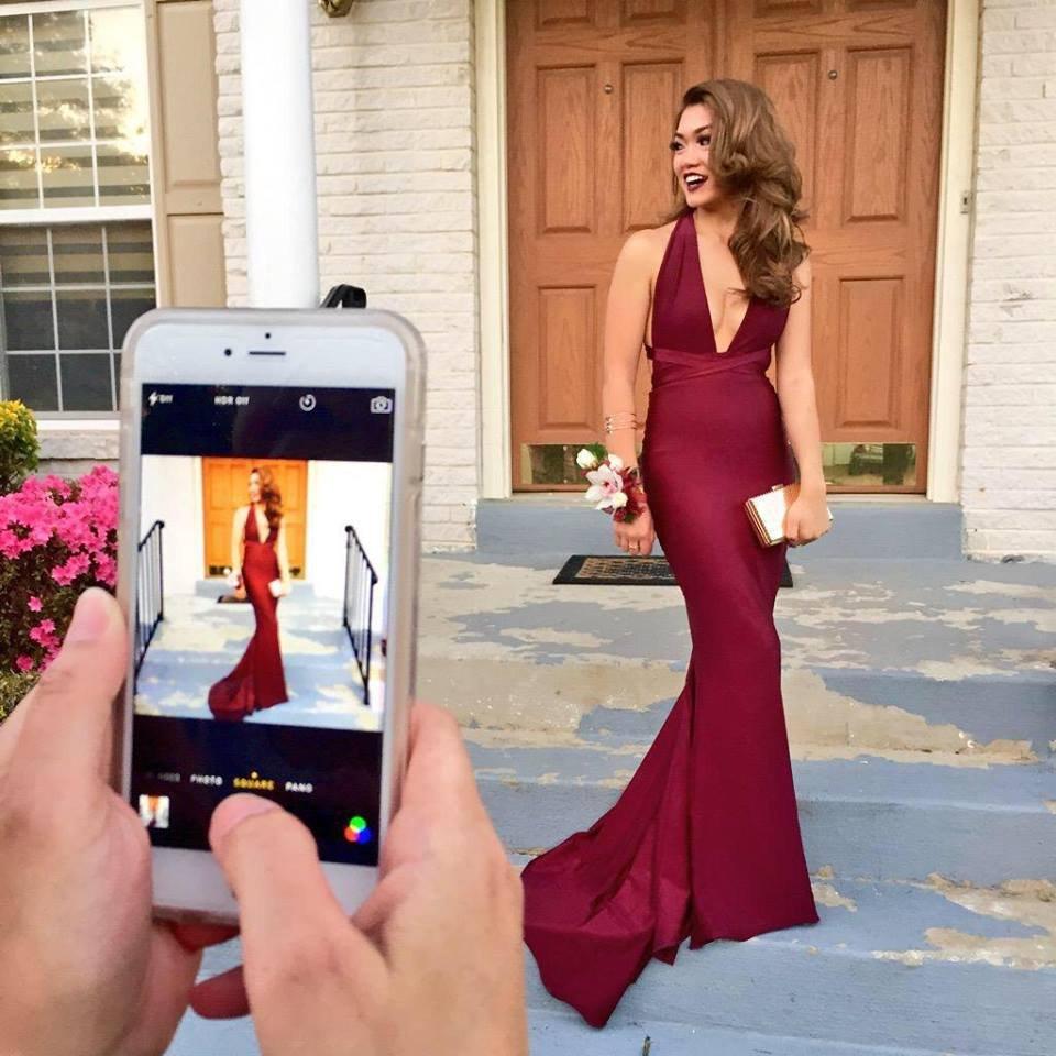 Skinny Burgundy V Neckline Floor Length Evening Dresses Prom Dresses ...