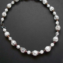 "17"" Clear crystal beaded wire necklace"