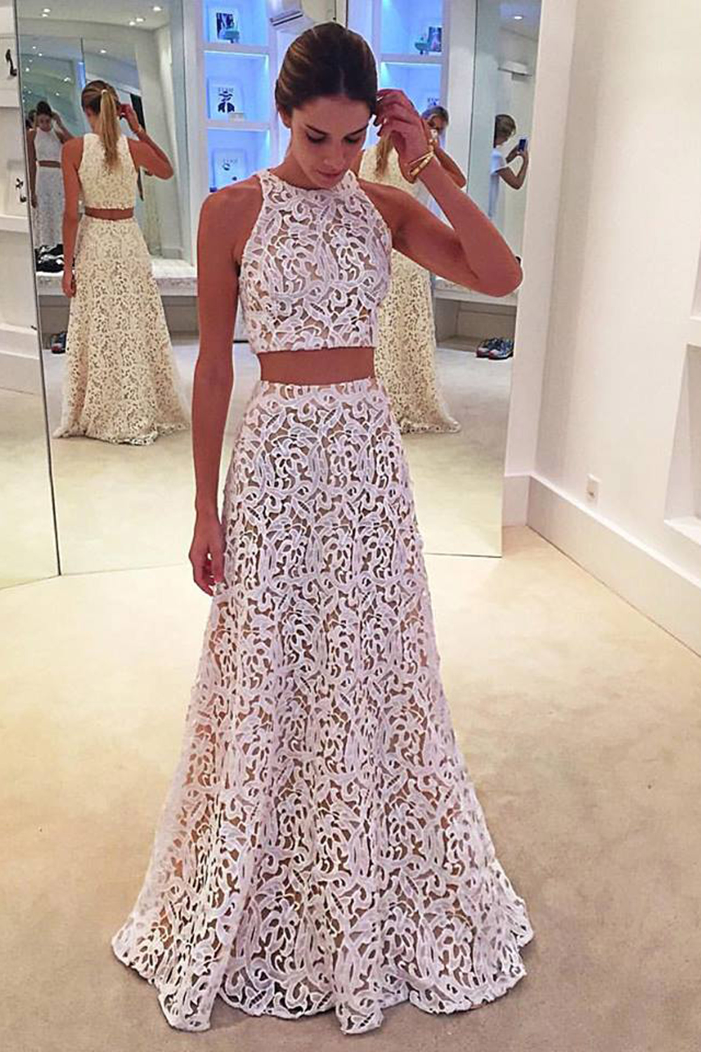 White lace two pieces long prom dress ,formal dresses · Dreamy Dress ...