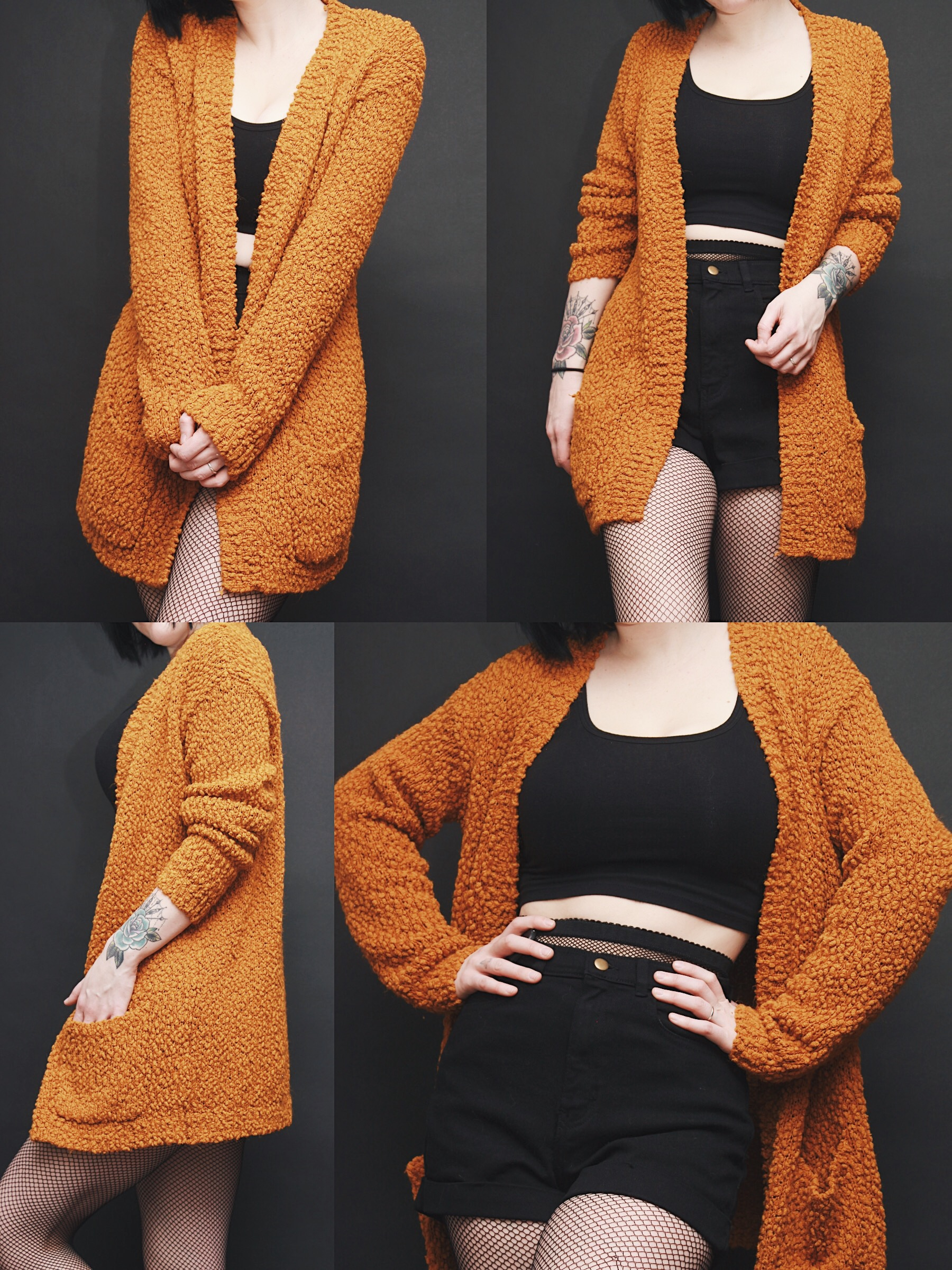 CLAIMED @foxbone.s - Vintage Mustard Yellow Nubby Chunky Knit Long ...