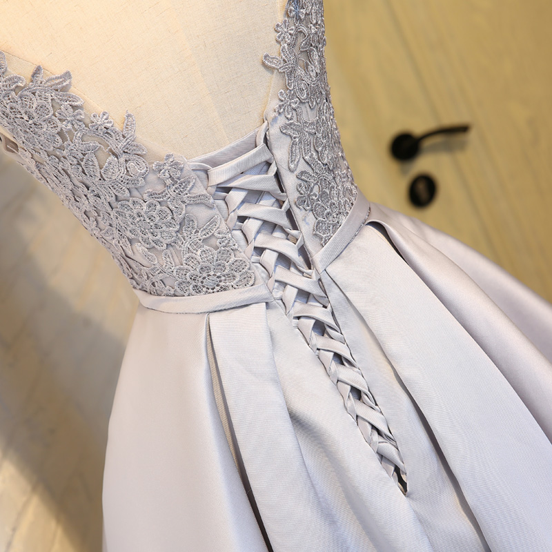 Little Cute   Gray lace short prom dress,gray evening dress ...