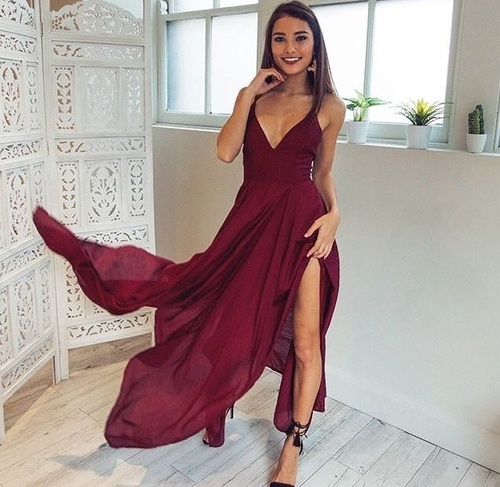 Sexy V Neck Long Chiffon Burgundy Prom Dress With Slit