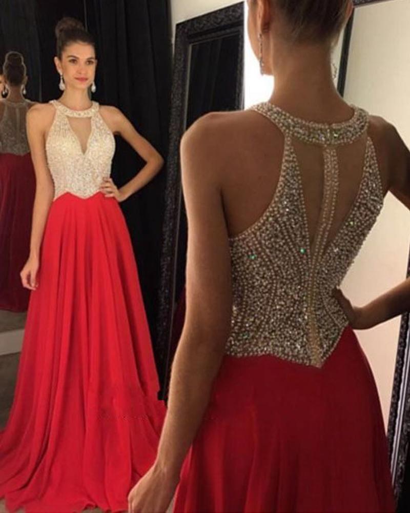 Halter Beaded Prom Dress,Red Prom Dress,Custom Made Evening Dress ...