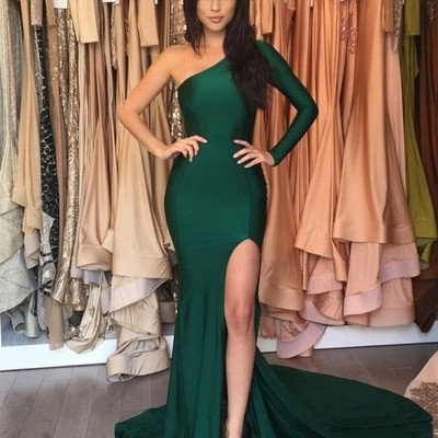40764708f9e 2017 dark green prom dresses one shoulder long side slit mermaid evening  gowns - Thumbnail 3