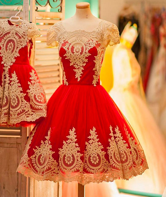 dress day | Cute red lace short ball gown prom dress, cute ...