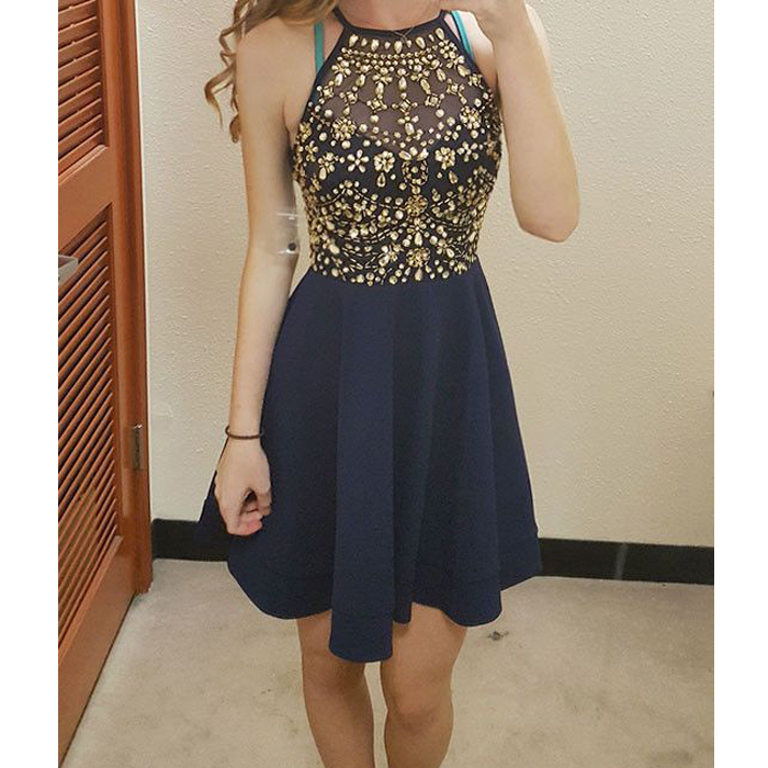 Navy blue homecoming dress, beaded homecoming dress, short prom ...