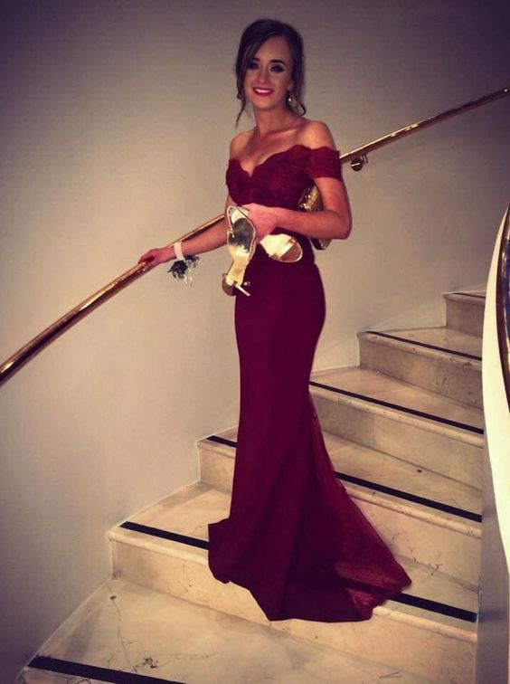 Elegant Prom Dresslong Prom Dressesburgundy Appliques Lace Mermaid