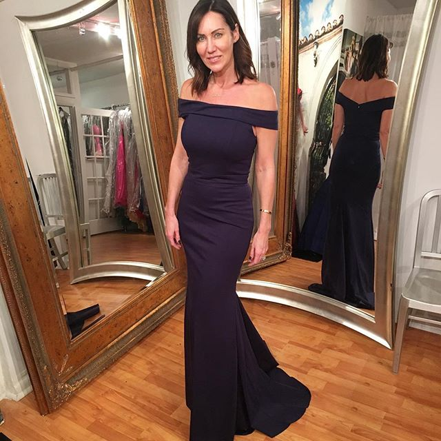 Gorgeous Navy Blue Mermaid Evening Dress, Off The Shoulder Prom Dress 2017 from dresschic