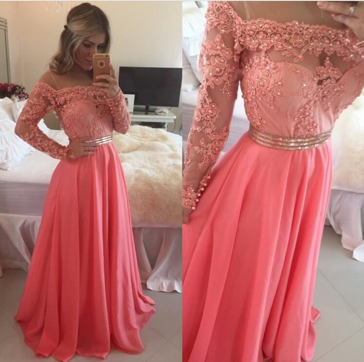 A425 Hot Pink Long Sleeve Lace Prom Gowns, Chiffon Long Evening ...