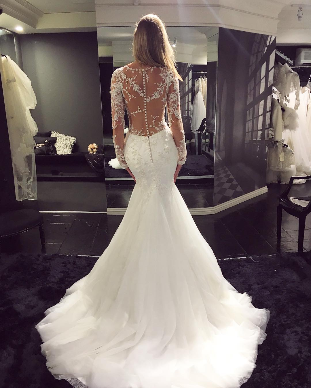 Elegant mermaid wedding dresses long sleeves lace beading sheer elegant mermaid wedding dresses long sleeves lace beading sheer amazing bridal gowns thumbnail 1 junglespirit Images