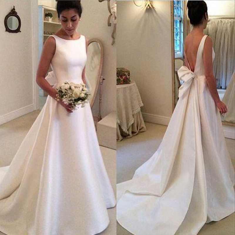 A451 Charming Lady Wedding Dresses, Backless Scoop Wedding Dresses ...