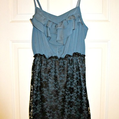 Blue & black lace dress