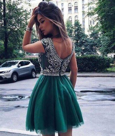 Hunter Green Homecoming Dress,short prom Dress,Mini Homecoming ...