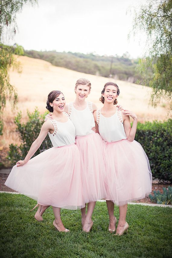 Classic Tea Length Pink Tutu Skirt Bridesmaid Dress