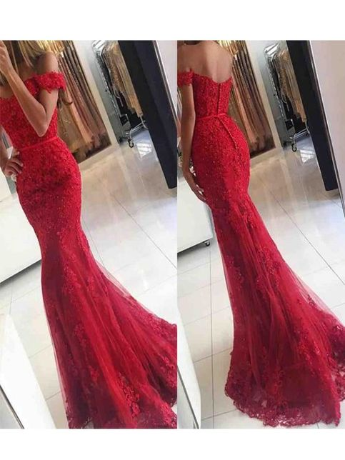 Vintage Off Shoulder Red Lace Mermaid Prom Dress Long