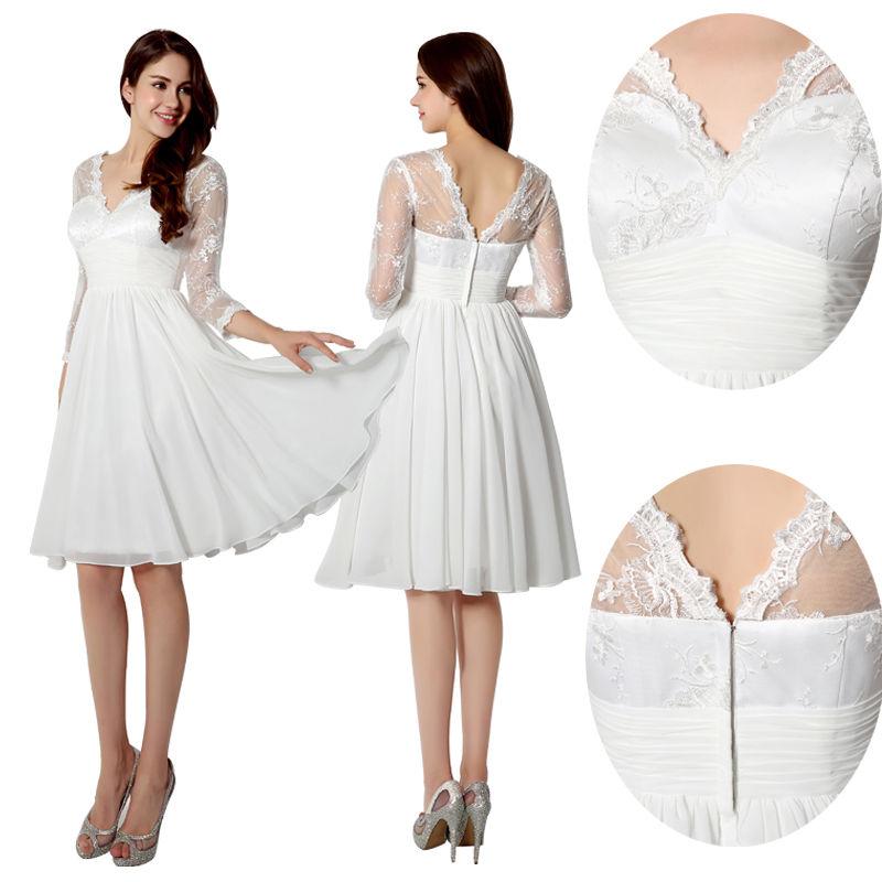 H88 Ivory Long Sleeve Chiffon Lace Short Formal Prom Dress, Wedding ...