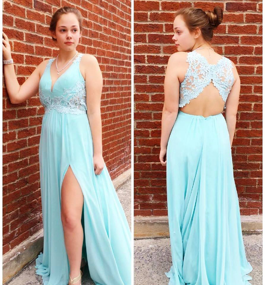 Aqua Chiffon Lace Appliqued Prom Dress,Open Back Formal Dress with ...