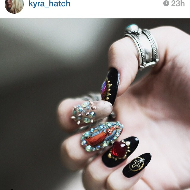 Kawaii Claws | Studded cross nails with virgin guadalupe vintage ...