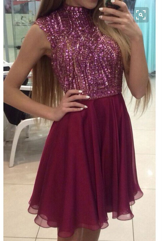 Burgundy prom dress,Short Prom Dresses,Shinny Homecoming Dresses ...