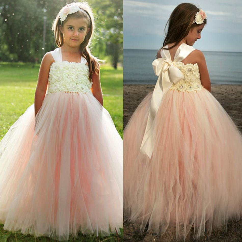 Adorable A-line Pink Tulle Flower Girl Dress with Ribbon ...