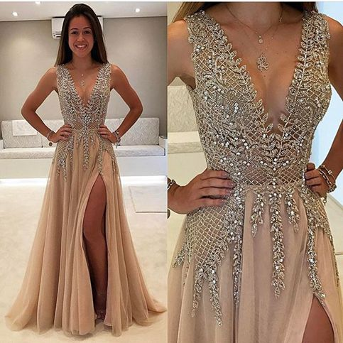 Gorgeous champagne v neck beading long prom dress,champagne evening ...
