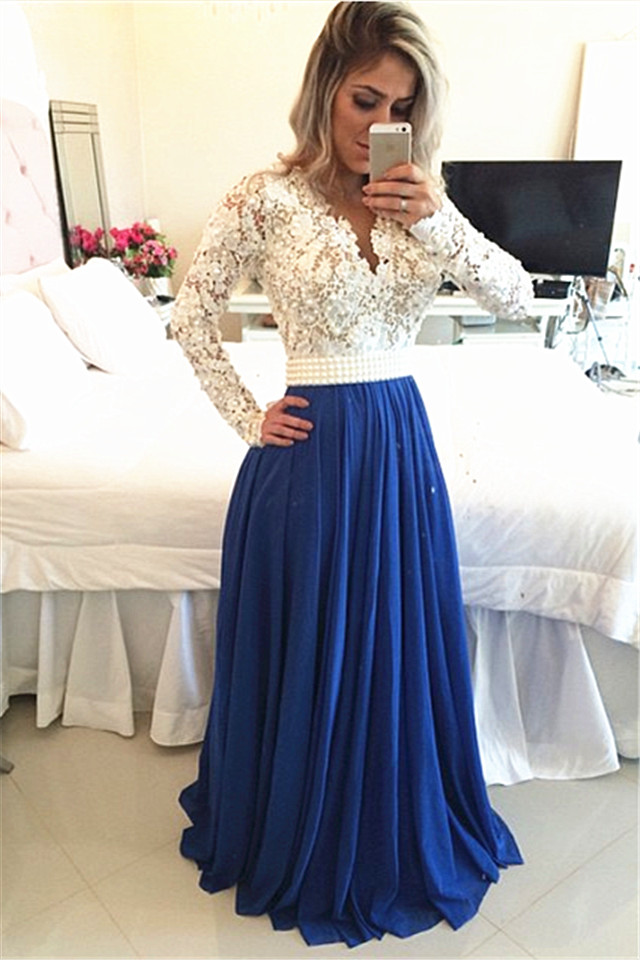 Long Sleeves Lace Pearls Chiffon Prom Dresses V Neck White&Blue ...
