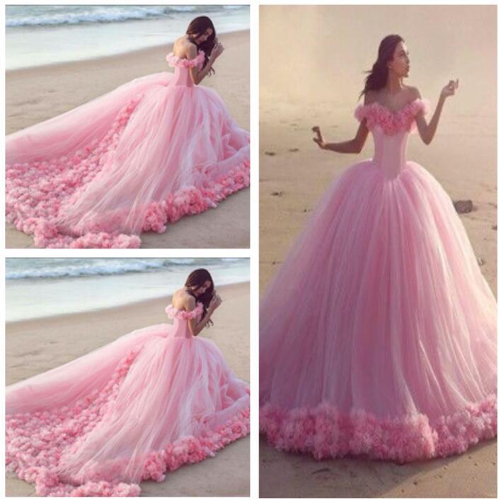 H221 Fairy Princess Wedding Dress, Pink Tulle Romantic Wedding ...