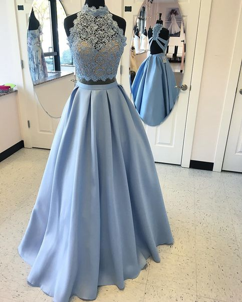 Light blue lace two pieces long prom dress,light blue evening dress ...