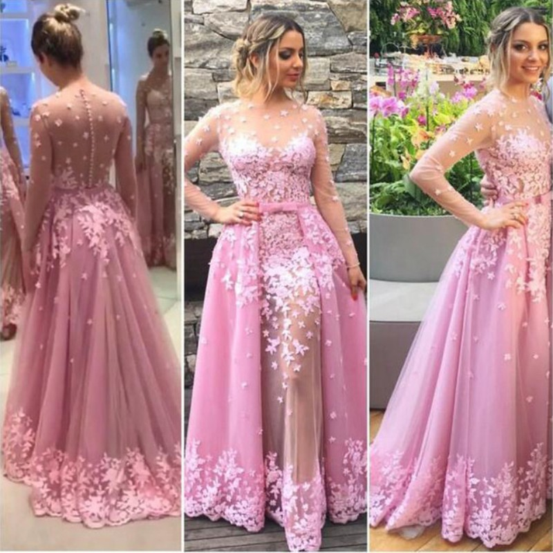 Sheer See- through Prom Dresses,Beaded Flower Ball Gown Prom Dresses ...
