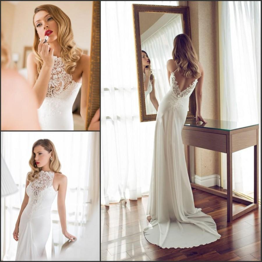 A494 Exquisite Wedding Dresses Backless Garden Sweep Train Lace ...