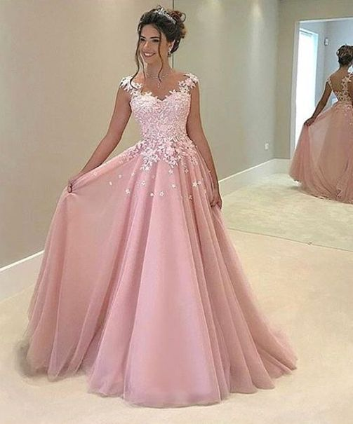 H296 Spaghetti Straps Long Prom Gowns, Lace Appliques Evening ...