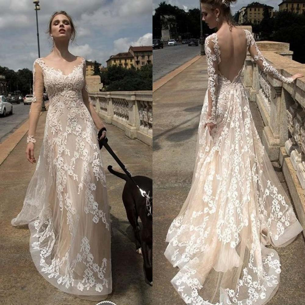H309 Sexy Back Open Appliqued Beach Wedding Dresses 2017 ...