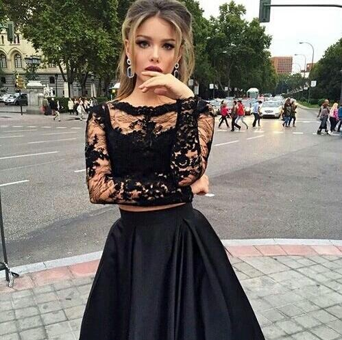 Two pieces prom dresses, Long sleeve prom dress, See through prom ...