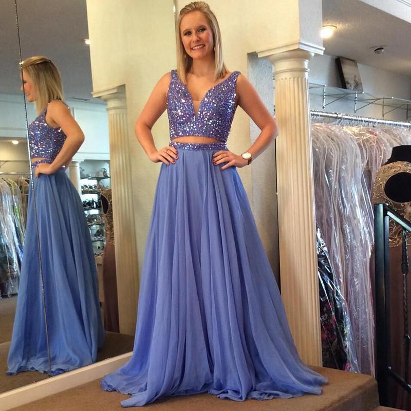 H445 Luxurious Two Piece Beads Long Light Blue Prom Dress,Handmade ...