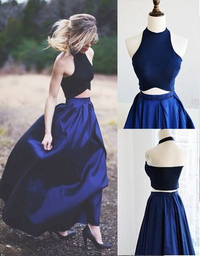 H463 Gorgeous Two Piece Prom Dress Party Dress Black Top With Royal