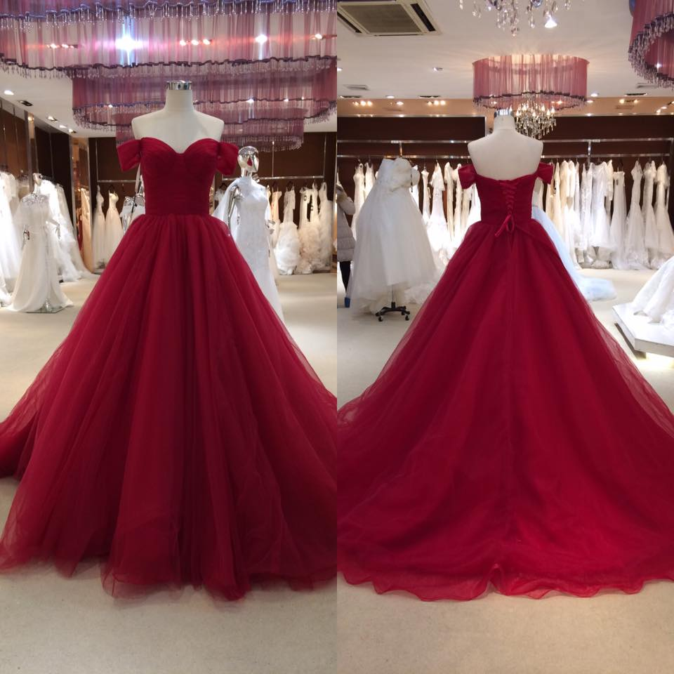 Red off shoulder tulle long prom dress,red evening dresses · Dreamy ...