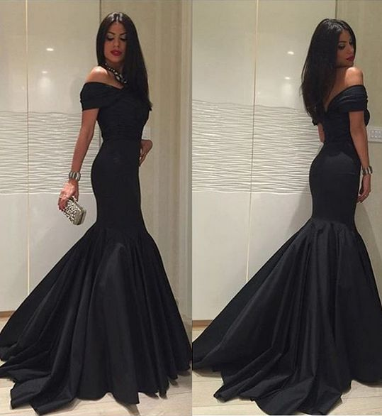 new fashion 2017 black formal dressescustom satin mermaid