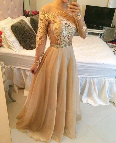 Long sleeve prom dress, lace prom dresses, gold prom dresses,cheap ...