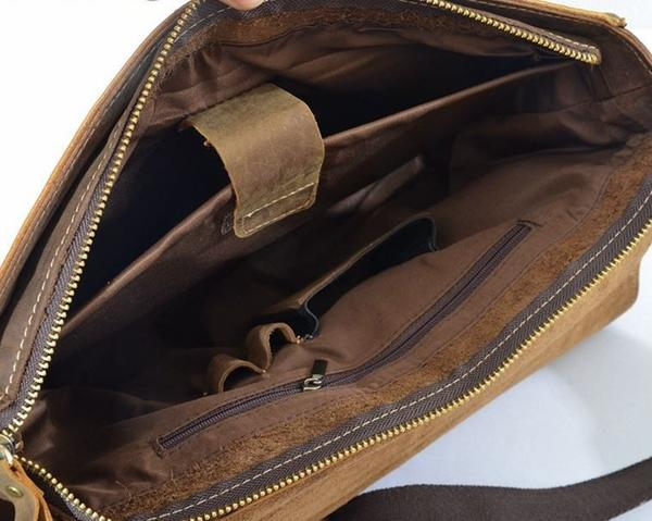 ... Genuine Solid Dark Brown Leather Modern Vintage Laptop Bag with Slim  Design(S66) ... f0b59ef9c8