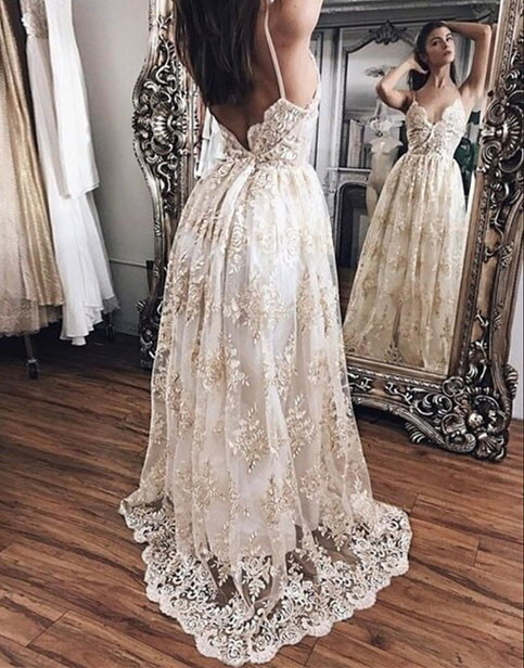 New Arrival A Line Spaghetti Straps Champagne Lace Long Prom Dress On Storenvy