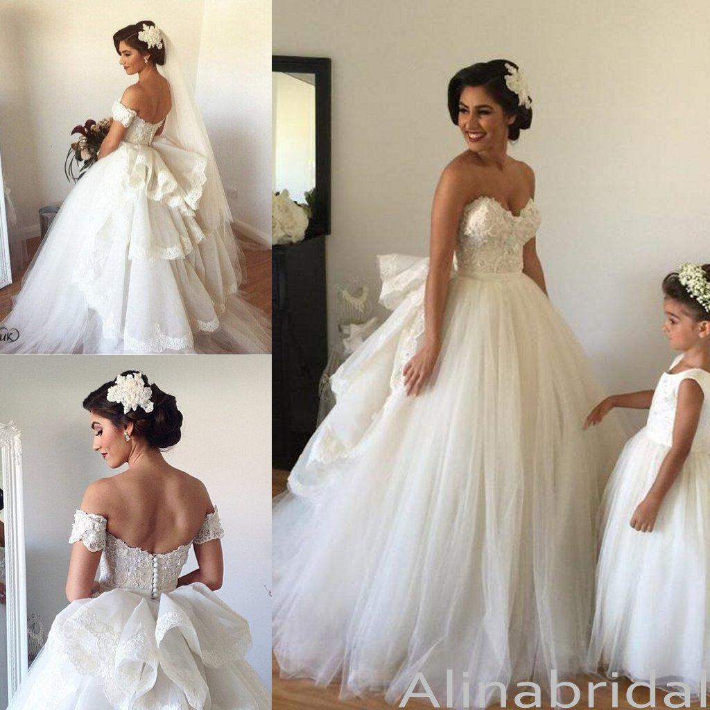 F193 Gorgeous Sweetheart Long Wedding Dress Bridal GownOff The Shoulder Short Sleeve Dresses