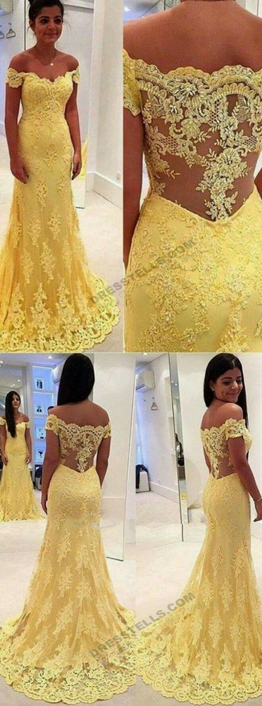 Sexy Mermaid Prom Dresses Yellow Lace Evening Dresses Off