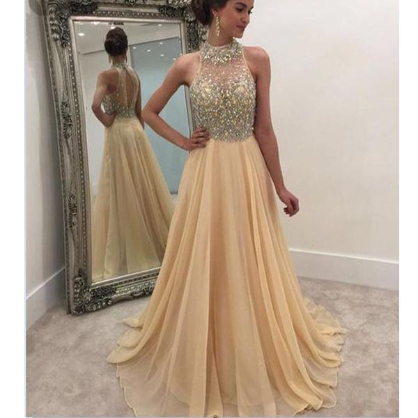 Beaded top prom dress, Champagne prom dress, open back prom dress ...