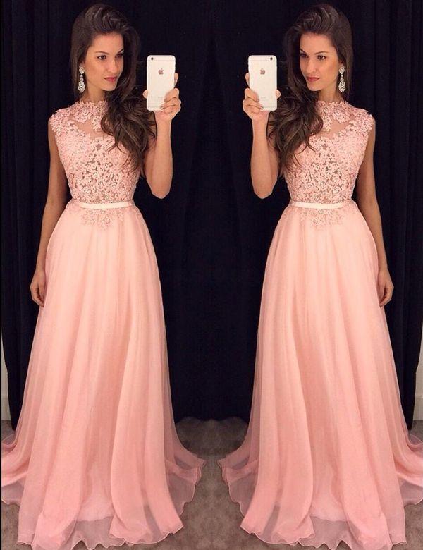 Pastel pink dress long