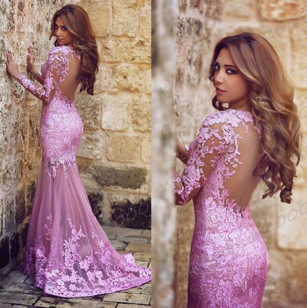 P214 Gorgeous Long Sleeves Mermaid Long Prom Dress with Lace,Red ...