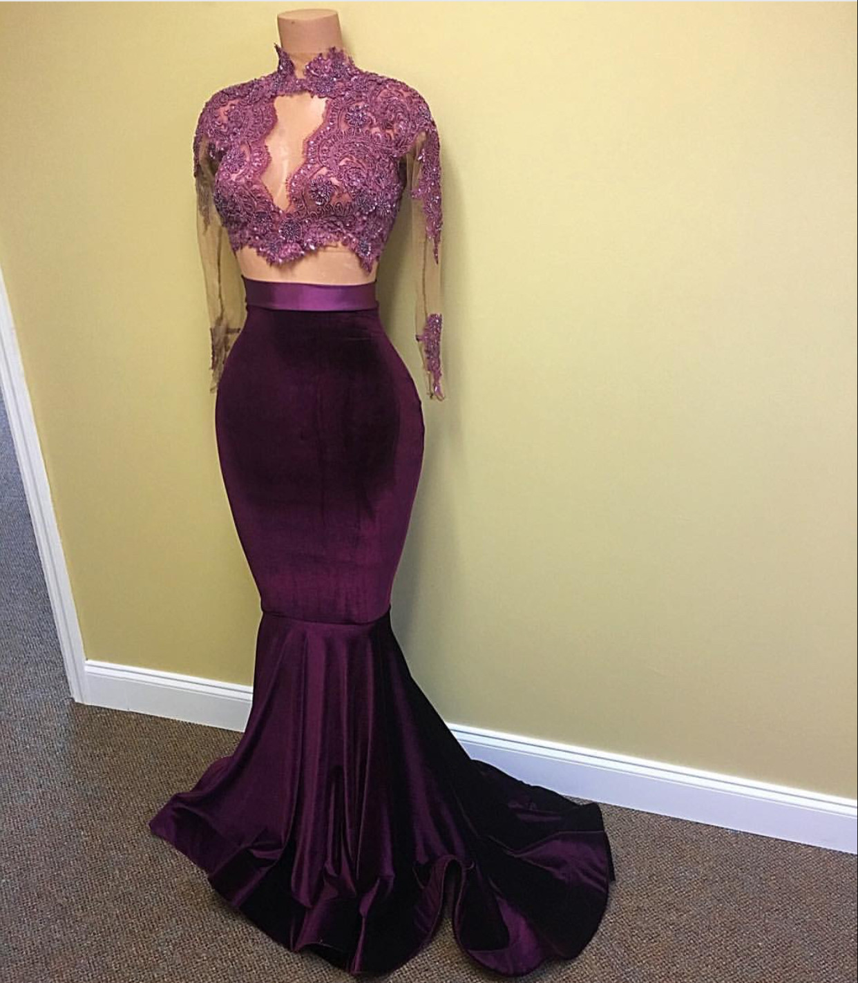 New Grape Mermaid Prom Dress Lace High Neck Long Sleeves Velvet Evening Gowns from Yaydressy