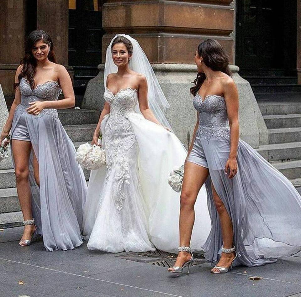 Long Gray Bridesmaid Dresses