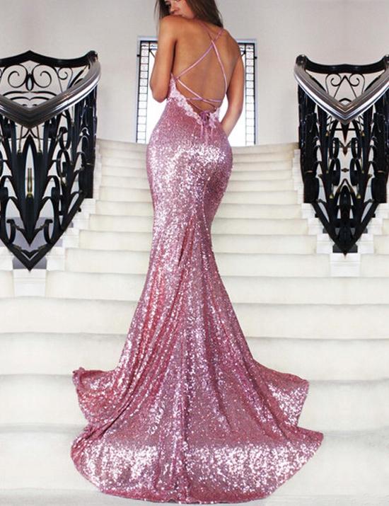 Elegant Prom Dress,Spaghetti Straps Prom Dresses,Sequins Prom Dress ...